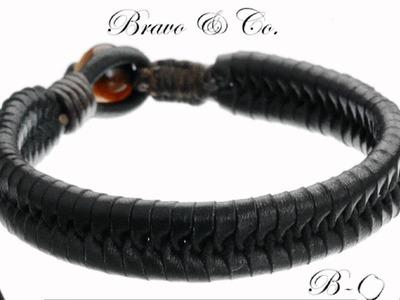 20 cm Tiger's Eye Bead Roo Leather Men Bracelet B-018