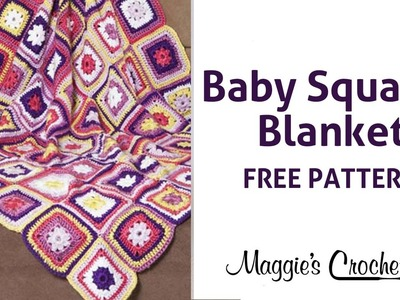 Baby Squares Blanket Free Crochet Pattern - Right Handed