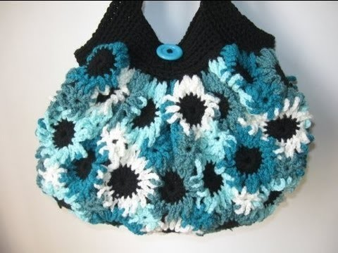 Crochet Flower Purse - Left Handed Crochet Tutorial - Making the Flowers