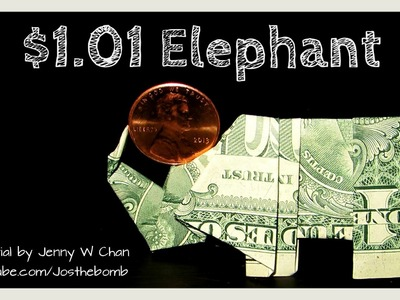 DIY How to Fold Money Origami ELEPHANT BALANCING PENNY - Dollar