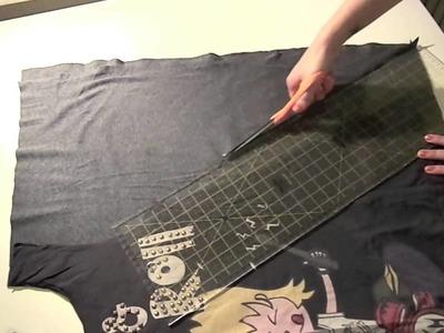➳ DIY: Loose high low hem top out of a tee!
