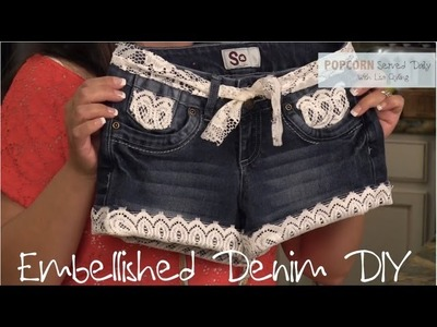 DIY No Sew Embellished Jeans with Lace or Studs