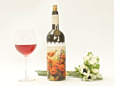How to decorate a glass bottle - decoupage DIY