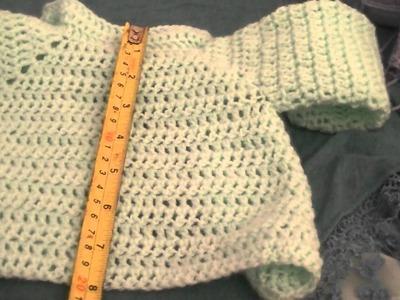 Measurements of my newborn crochet baby cardigan