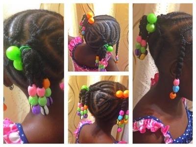 Natural Hair Kids|Cornrows|African Threading| Beads|Damage-Free Method