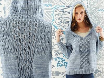 #24 Hooded Raglan Pullover, Vogue Knitting Spring.Summer 2014