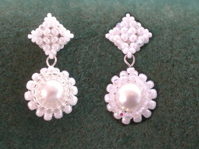 Beading4perfecttionists: Victorian. Wedding earrings. Studs based on RAW beading tutorial
