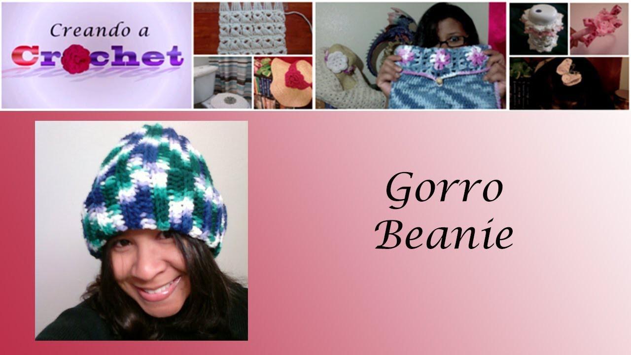 """""""Beanie Hat"""" para caballeros, damas y chicos -Tutorial de tejido crochet"""