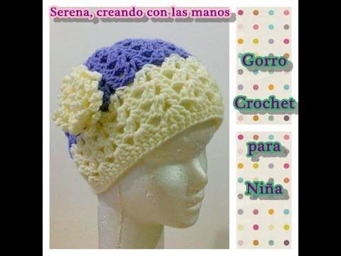 Como tejer gorro crochet ganchillo para niña con flor