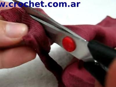 Cortar y reciclar tela para tejer a crochet tutorial paso a paso.