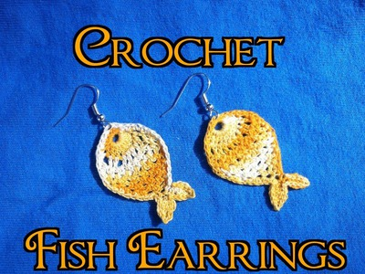 Crochet Fish Dangle Earrings Tutorial - Free Crochet Pattern - How To Firm and block Earrings