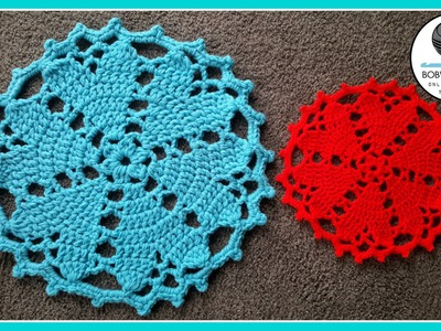 Crochet Floor Rug. Doily Heart Valentines Tutorial