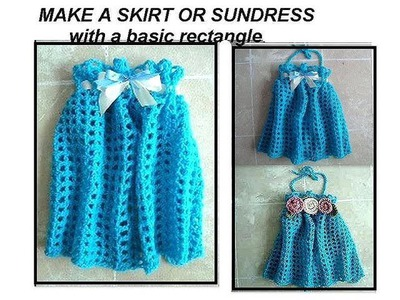 CROCHET Girl's Blue  SKIRT OR SUNDRESS, crochet pattern, easy rectangle crochet, how to diy