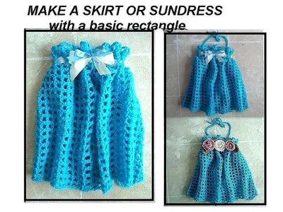 CROCHET Girl's Blue  SKIRT OR SUNDRESS, crochet pattern, easy rectangle crochet, how to diy