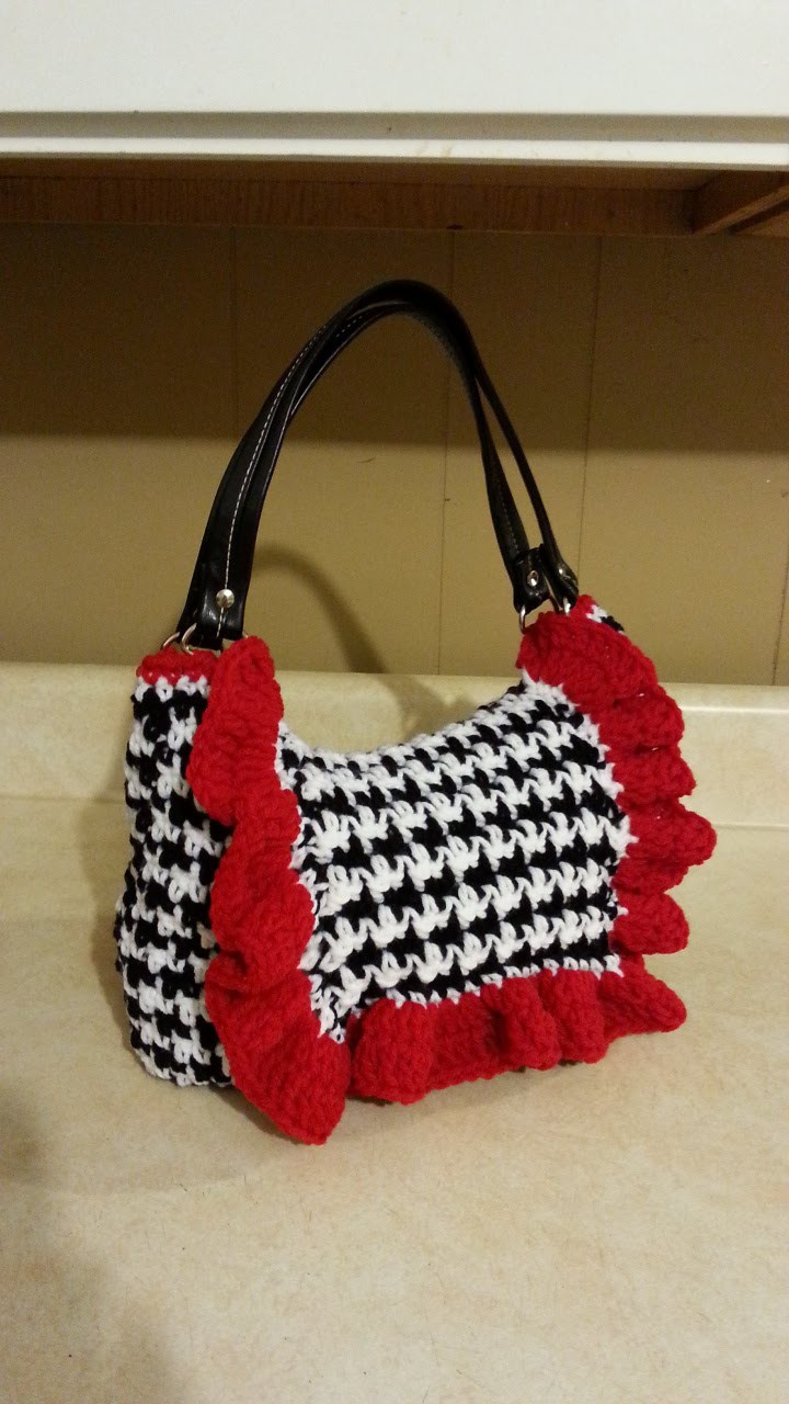 #Crochet Houndstooth Stitch Handbag Purse #TUTORIAL
