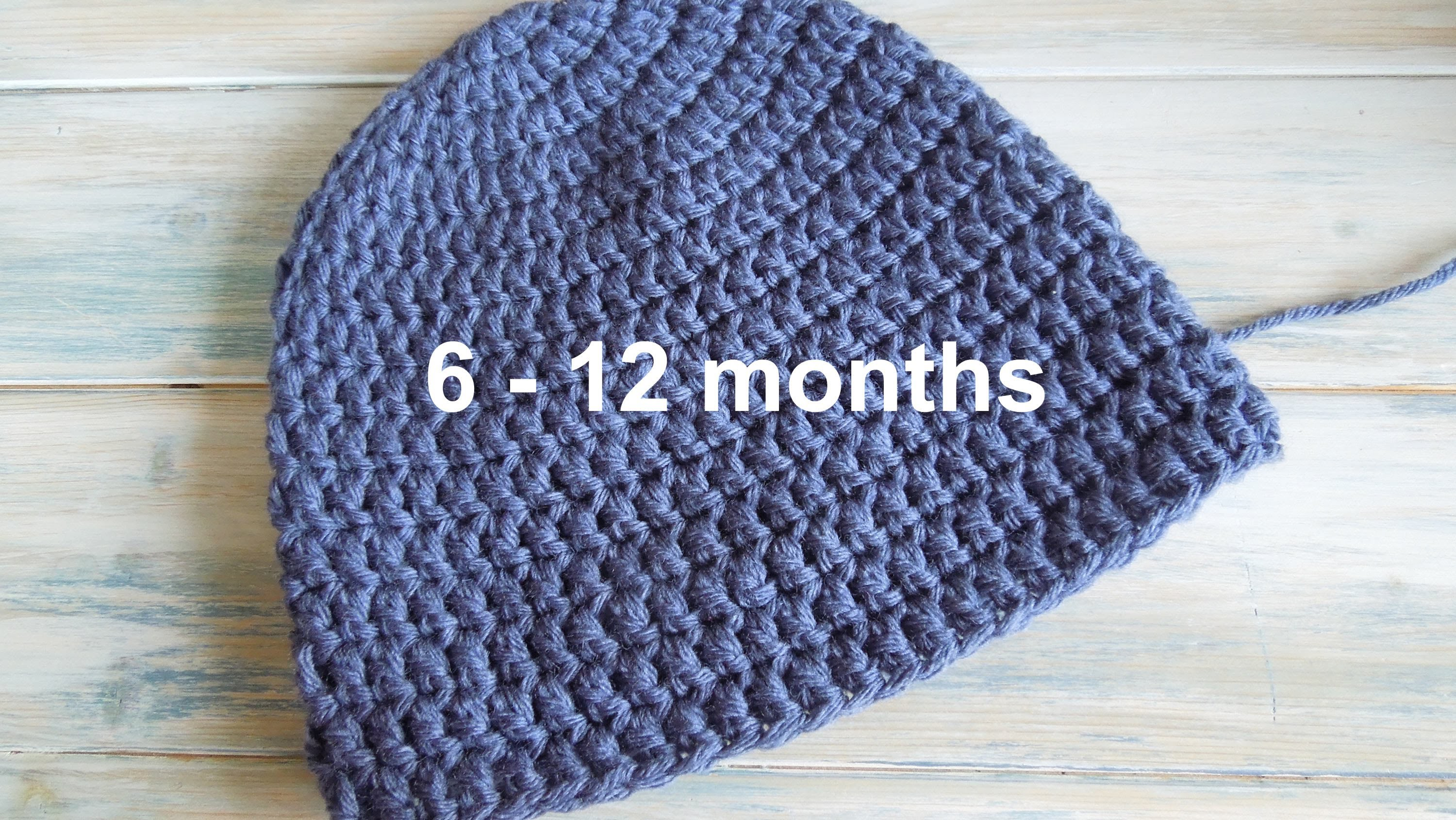 (crochet) How To - Crochet a Simple Baby Beanie for 6-12 months