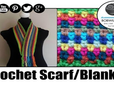 Crochet Moss. Seed  Stitch Scarf. Afghan Tutorial