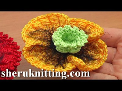 Crochet Poppy Flower Tutorial 68 Part 2 of 3 Bullion Block Stitch Flower