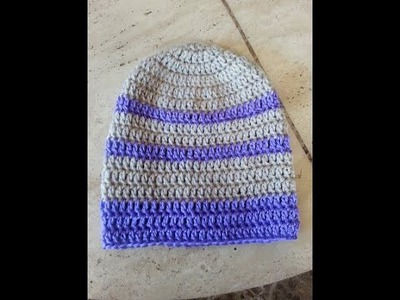Crochet super easy beginner adult beanie hat DIY tutorial
