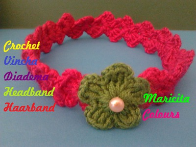 "Crochet Tutorial Vincha ""Mary"" Vintage Diadema Bebe Headband Subtitles English & Deutsch"