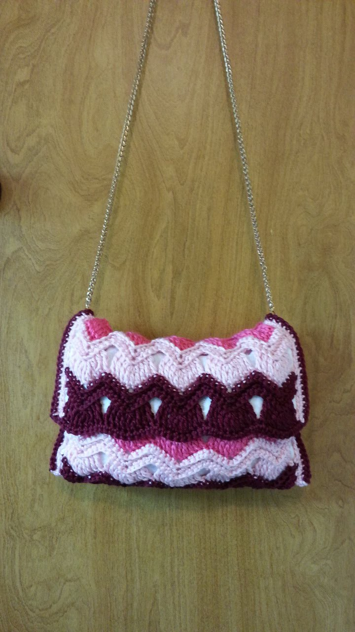 #Crochet Vintage Ripple Stitch Handbag Purse #TUTORIAL