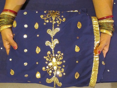 DIY: NO SEW ZORDOSI SAREE CREATIONS WITH SEQUINS, GOLDEN LEAF, BEADS AND TRIM.