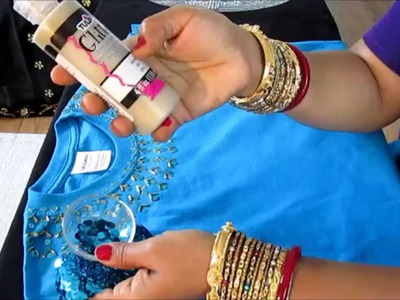 DIY: T-SHIRT DECORATIONS  WITH BEADS AND SEQUINS.