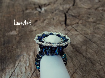 DIY TUTORIAL: Anello Barocco.Baroque ring (superduo.twin beads)