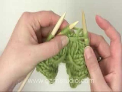 DROPS Knitting Tutorial: How to knit a smock pattern: wind the yarn twice around sts