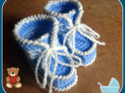 Голубые пинетки спицами. Часть 1(продолжение).knitting booties for the baby