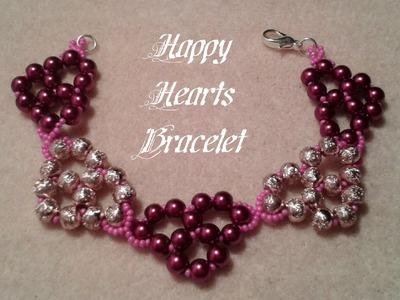 Happy Hearts Bracelet Beading Tutorial by HoneyBeads1