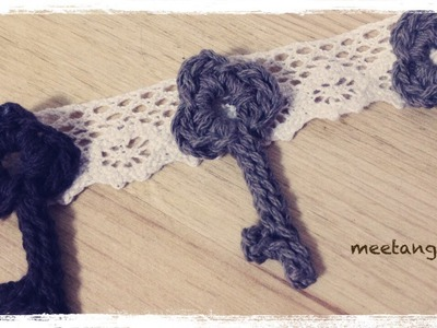 How to crochet a Antique key motif アンティークキーのモチーフの編み方 by meetang