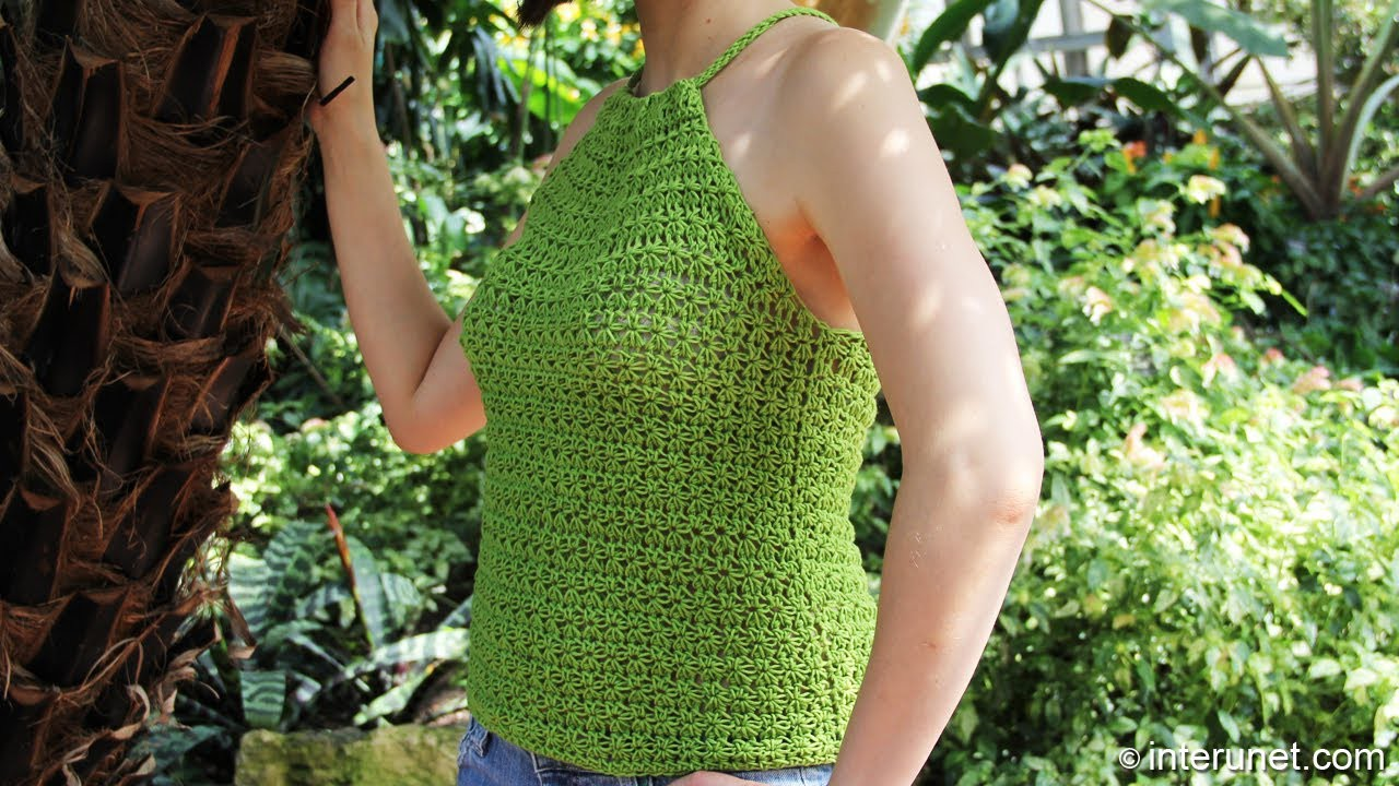 How to crochet a women's summer top using green wildflowers pattern