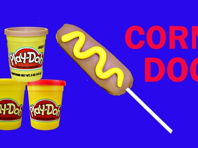 Play Doh Corn Dog Play Dough Hot Dog on a Stick Clay Food Tutorial DIY