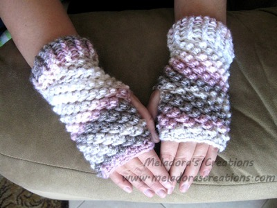 Raspberry Stitch Finger less Gloves - Crochet Tutorial