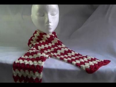 Scarf. Afghan. Blanket Crochet Tutorial - Granny on the Straight - Variation 1
