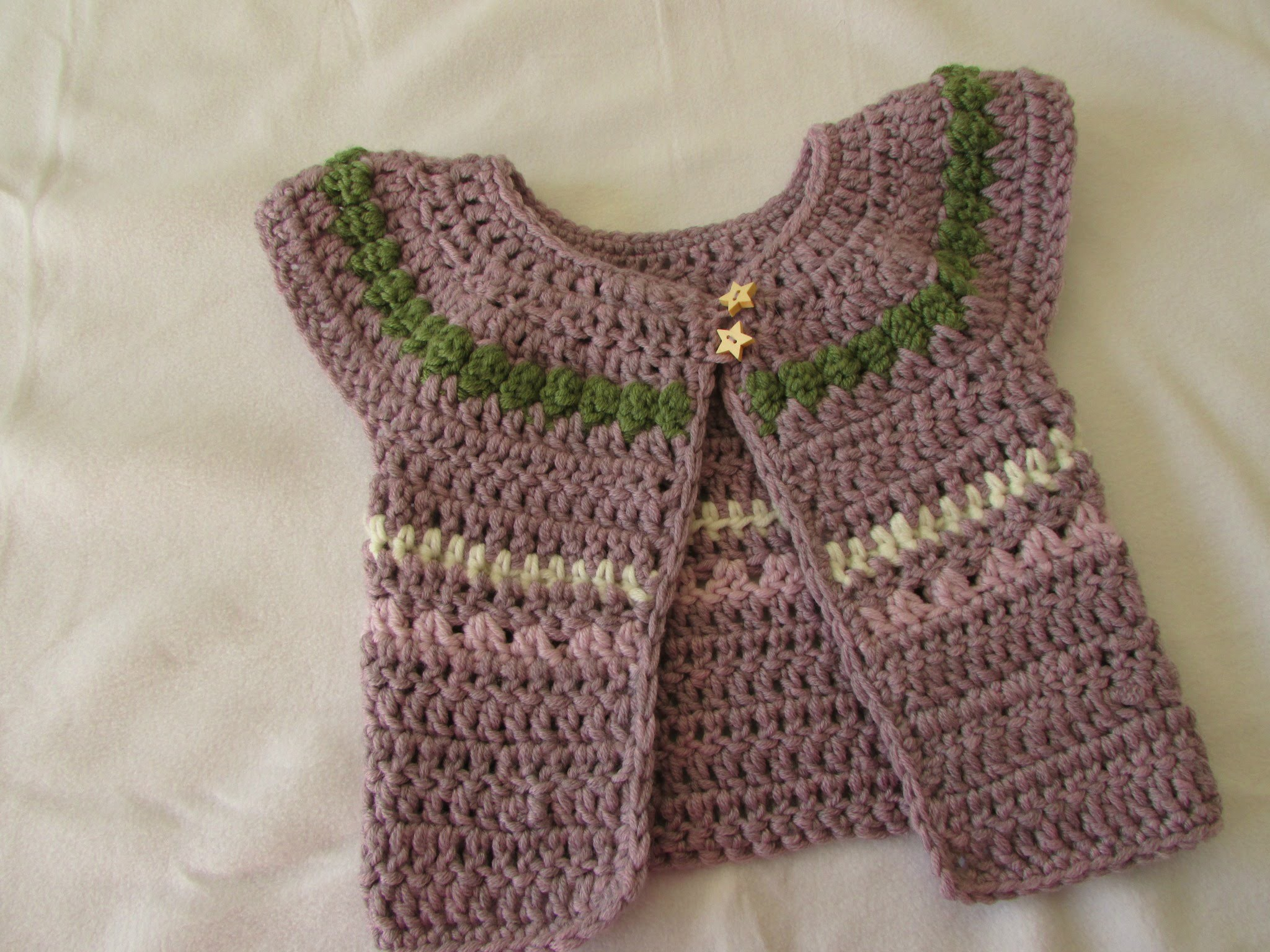 VERY EASY chunky crochet baby. girl's cardigan tutorial - fair isle sweater. jumper