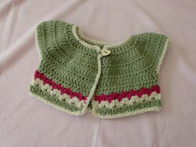 VERY EASY crochet baby. girl's summer bolero tutorial - crochet cardigan (part 1)