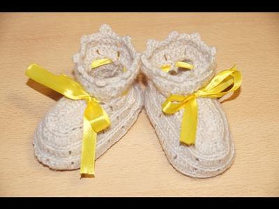 Вязание пинеток крючком шаг 1 - подошва.  Crochet knitting bootees step 1 - sole