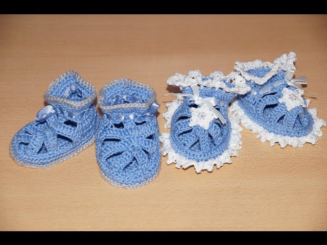 1 часть. Цветные.Crochet booties sneakers. Вязание крючком пинеток-туфелек. Пинетки -Жабка. Crochet bootees, shoes