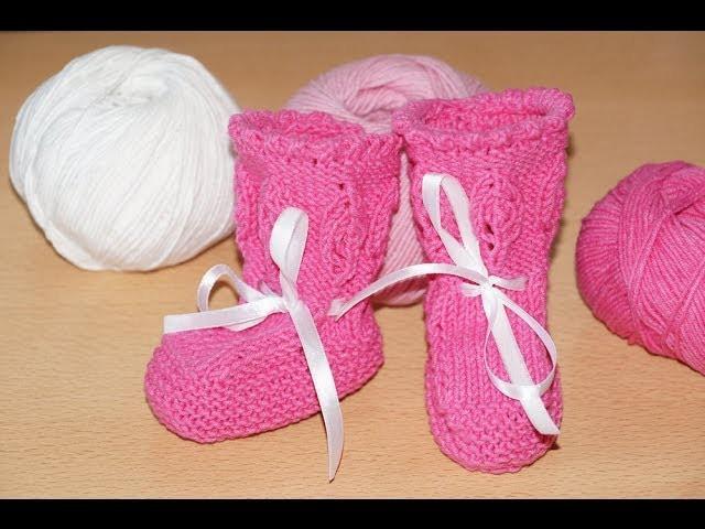 Вязание спицами. Пинетки сапожки для новорожденных.   Knitting. Boots booties for babies