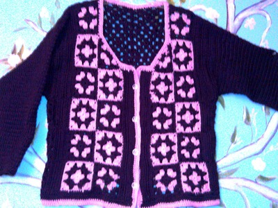 Crochet Cardigan sweater with granny squares.Video one