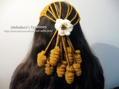 Crocheted Mesh Twirly Head Cover - Left Handed Crochet Tutorial