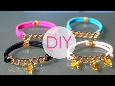 DIY- GOLD BRACELETS USING HAIR ELASTICS!