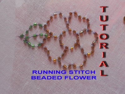 Hand embroidery: how to sew a beaded flower using running stitch