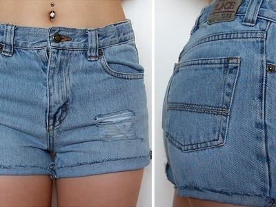 How to | DIY High Waist Distressed Denim Shorts