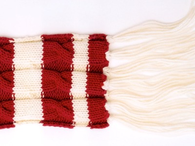 How to knit a cable knit scarf with knitting needles