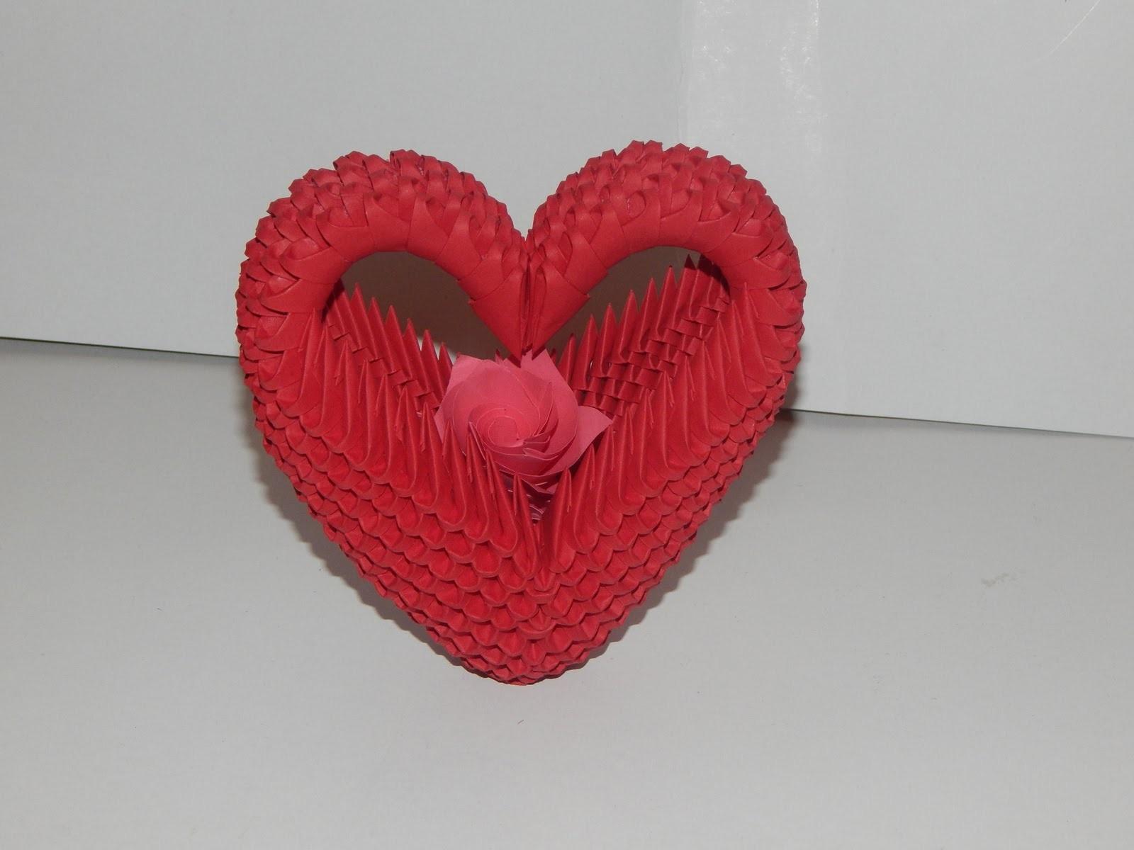 Объёмное сердце схемы модульные оригами