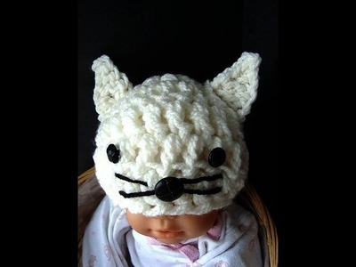 KITTY KAT HAT, costume, cat, feline, baby hat, how to crochet a kitty hat