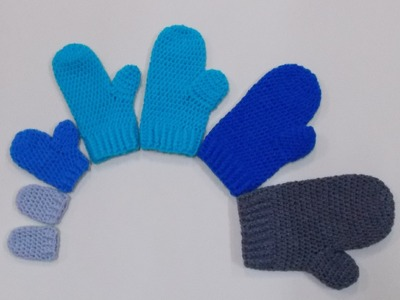 Mittens Small and Medium Adult Crochet Tutorial